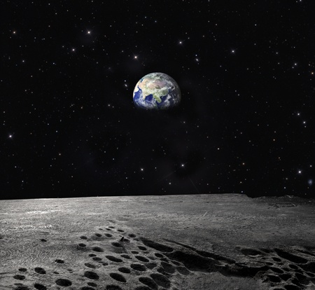 Earth Planet seen from the Moon