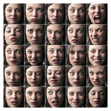 Composition of portraits of the same young woman expressing different feelings and moods
