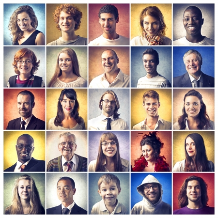 Photo pour Composition of diverse people smiling - image libre de droit