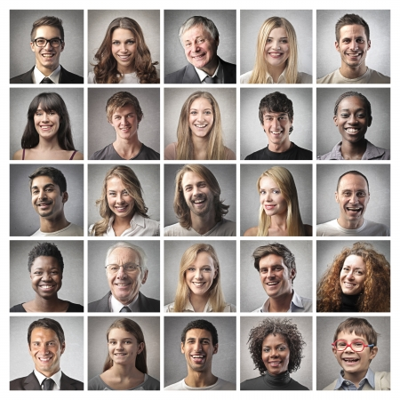 Photo for mosaic portrait of happy people - Royalty Free Image
