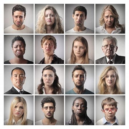 mosaic portraits people sad