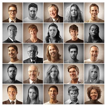 mosaic portraits people happy and sad