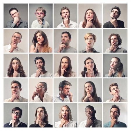 Photo pour portraits of men and women thinking - image libre de droit