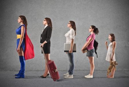 Foto de growth of a woman into a super woman  - Imagen libre de derechos