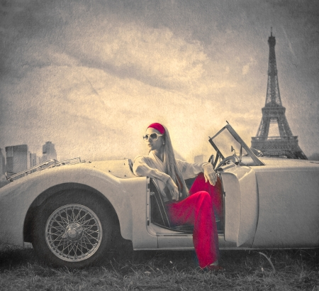 Foto für beautiful fashion woman on a car in Paris  - Lizenzfreies Bild