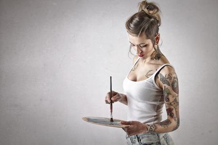 Photo pour painting alternative girl - image libre de droit