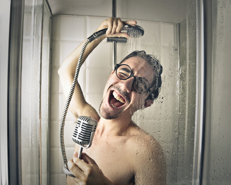Photo for Singer in the shower - Royalty Free Image