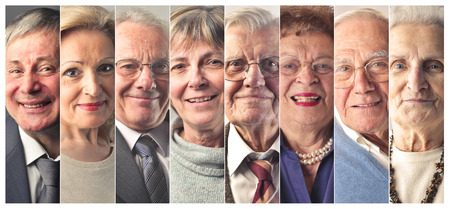 Photo pour Elderly people's portraits - image libre de droit
