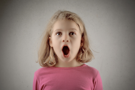 Photo for Little blonde girl is surprised - Royalty Free Image