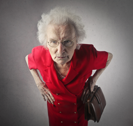 Foto de Old lady is being nasty - Imagen libre de derechos