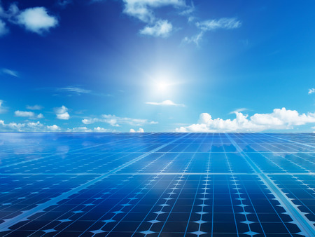 Photo pour Solar cell power energy grid technology in  sky backgroundbackground design - image libre de droit