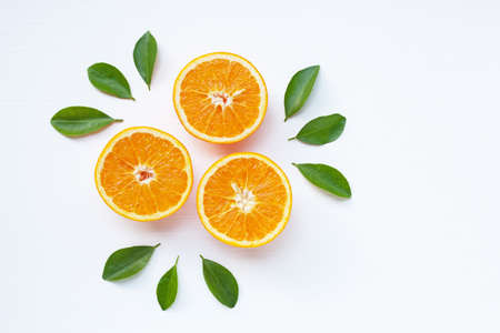 Photo pour Fresh orange citrus fruit isolated on white background.  Top view - image libre de droit