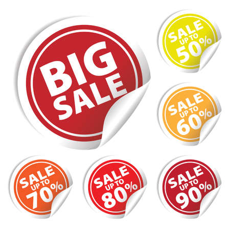 Illustration pour Big Sale tags with Sale up to 50 - 90 percent text on circle tags - image libre de droit