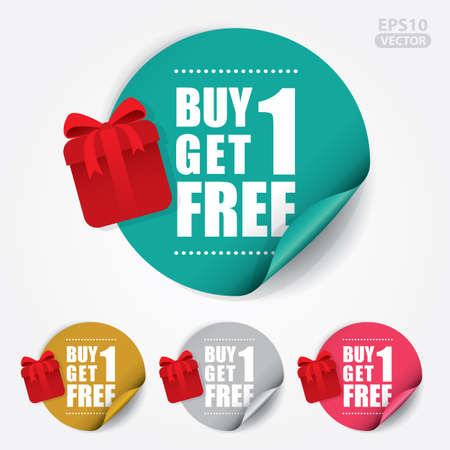 Illustration pour Buy 1 Get 1 Free Sticker and Tag. - image libre de droit