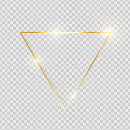 Illustration pour Gold shiny glowing vintage triangle frame with shadows isolated on transparent background. Golden luxury realistic border. Wedding, mothers or Valentines day concept. Xmas and New Year. Vector - image libre de droit