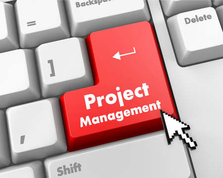 Foto de Project Management Button on Computer Keyboard. Business Concept. - Imagen libre de derechos