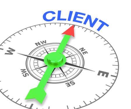 Foto de compass with the needle pointing the word client, 3d rendering - Imagen libre de derechos