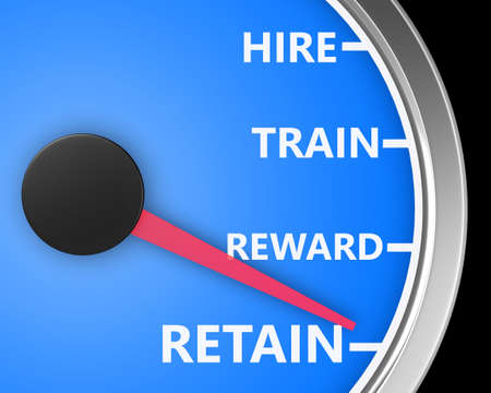 Photo for Hire Train Reward Retain words on a speedometer to illustrate human resources best practices processes for new employees 3d rendering - Royalty Free Image