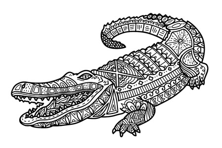 Illustration for Cute crocodile. Vector illustration of cute ornate zentangle crocodile for children or for adult anti stress coloring book - Royalty Free Image