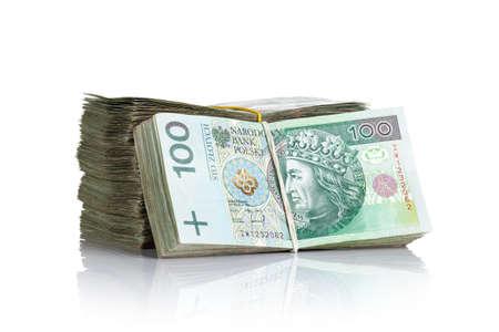 Foto de Polish money banknotes on white background. Stack of cash - Imagen libre de derechos