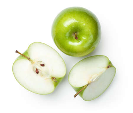Foto de Fresh granny smith apples on white background. Top view - Imagen libre de derechos