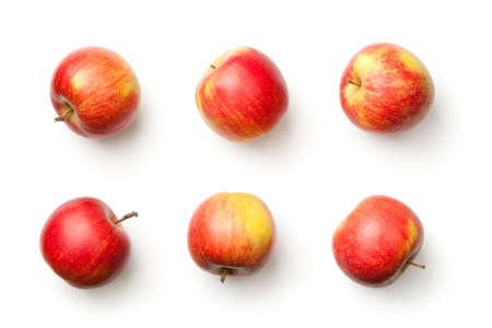 Foto de Apples isolated on white background. Champion apple. Top view - Imagen libre de derechos