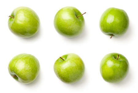 Photo pour Green apples isolated on white background. Granny smith apples. Top view - image libre de droit