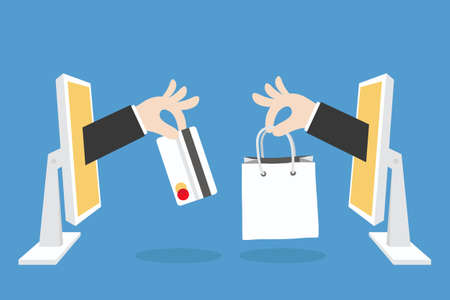 Illustration pour e-commerce concept minimal design, vector - image libre de droit