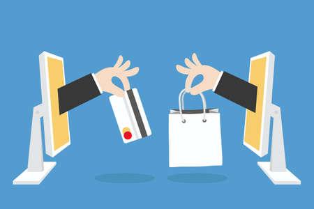 Ilustración de e-commerce concept minimal design, vector - Imagen libre de derechos