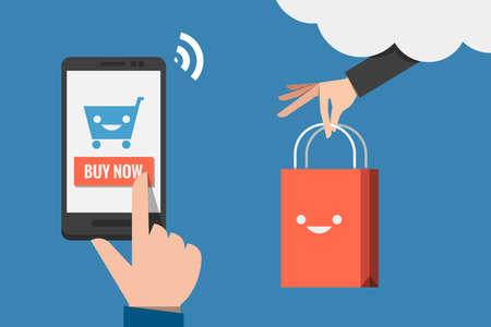 Ilustración de mobile shopping flat design vector  - Imagen libre de derechos