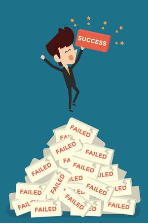 Ilustración de Successful businessman concept character, vector - Imagen libre de derechos