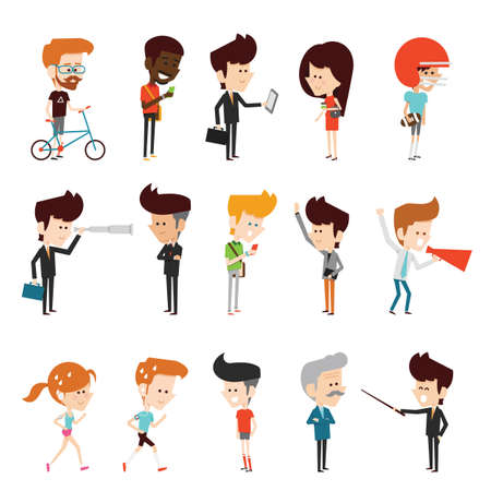 Illustration pour characters design flat cartoon - image libre de droit