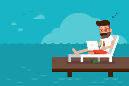 Illustration pour Freelance on the beach flat design cartoon. - image libre de droit
