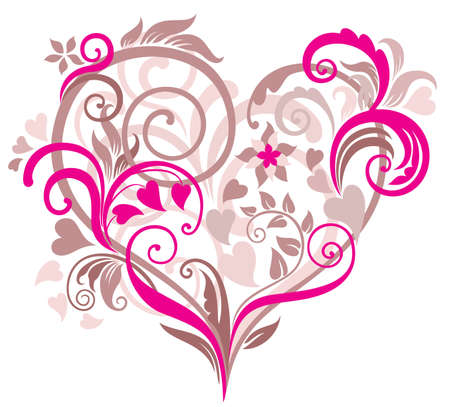 Beautiful floral background with heart in pastel tones