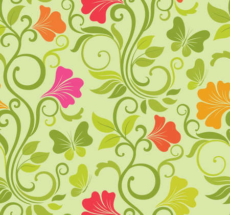 Floral vector seamless background with fresh spring flowers and butterflies mural
