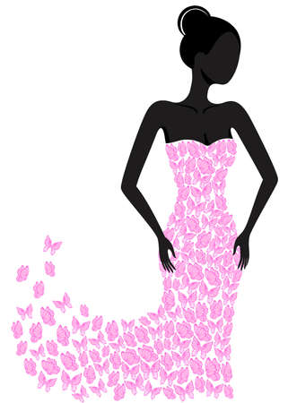 Ilustración de Silhouette of a girl in a flying apart dress - Imagen libre de derechos