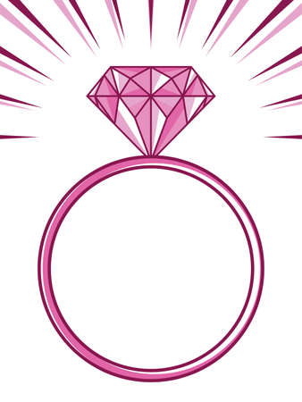 Illustration for wedding or engagement ring with diamond - Royalty Free Image