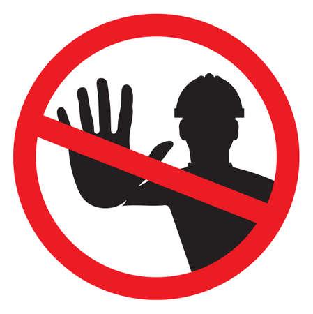 Illustration pour Access denied - construction worker - image libre de droit