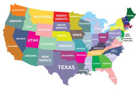 Illustration pour USA map with states - image libre de droit