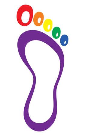 Illustration pour Foot symbol - foot print lgbt flag - image libre de droit