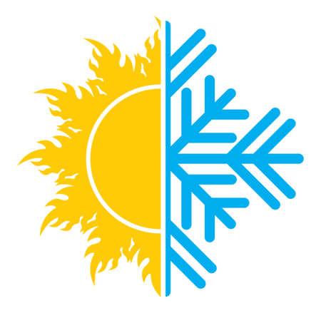 Illustration pour Air conditioning icon  summer winter - image libre de droit