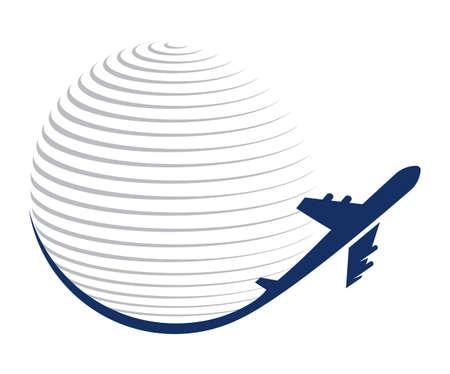 Illustration pour Globe and plane travel icon - image libre de droit