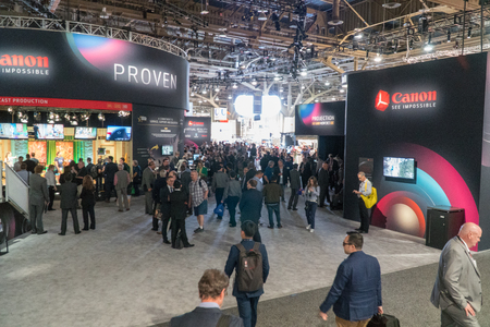 Foto de Las Vegas, NV - April 2017: Multinational corporation specialized in the manufacture of imaging optical products, cameras and camcorders booth at NAB Show. National Association of Broadcasters - Imagen libre de derechos