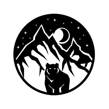 Illustration pour mountain bear logo nature landscape - image libre de droit