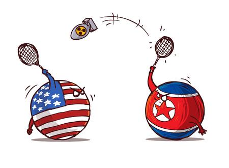 Ilustración de nuclear badminton north korea versus usa - Imagen libre de derechos