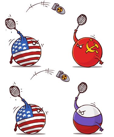 Ilustración de nuclear badminton ussr russia versus usa - Imagen libre de derechos