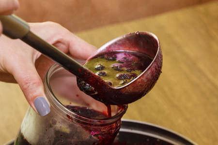 Foto de Jam cooking berries fruit food making fresh summer. - Imagen libre de derechos