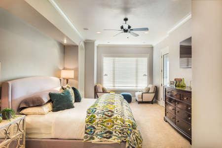 Foto de Furnished master bedroom in new luxury home - Imagen libre de derechos