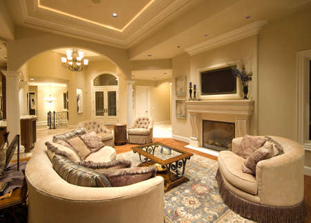 Photo pour Beautiful Living Room Interior in Luxury Home with Fireplace and TV - image libre de droit