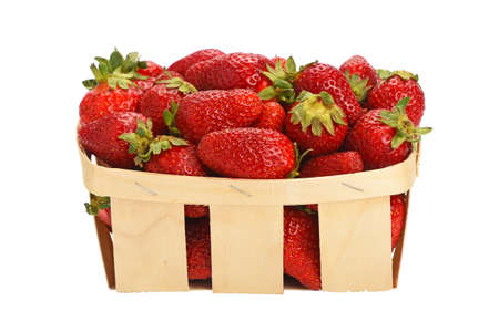 Foto de Wooden wicker basket full of mellow fresh red summer strawberries isolated on white background, side view - Imagen libre de derechos